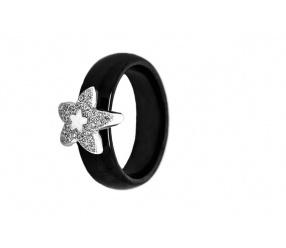 Srebrny pierścionek pr. 0.925 czarna ceramika i elementem gwiazdy pięcioramiennej PCS118C