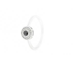 srebrny pr.925 pierścionek PS124CZ z czarną cyrkonią