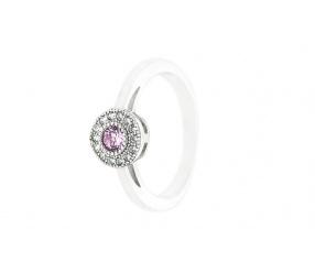 pierścionek ze srebra PS126R różowa cyrkonia