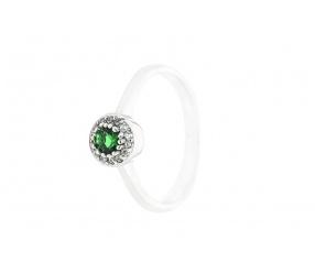 srebrny pierścionek PS130Z z zieloną cyrkonią