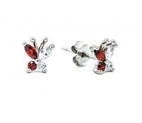 kolczyki ze srebra KW112 motylki z cyrkoniami białą i czerwoną