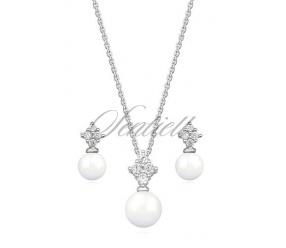 Srebrny modny komplet z perełkami i cyrkoniami pr.925