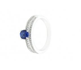 pierścionek ze srebra PS131N z niebieskim oczkiem cyrkonia