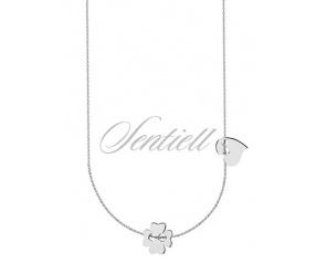 Srebrny naszyjnik pr.925 z koniczynką i serduszkiem