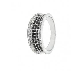 srebrny pierścionek PS122BC z białymi i czarnymi cyrkoniami