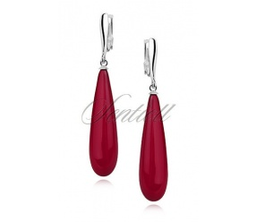 Srebrne kolczyki pr.925 łezki - czerwona, prasowana muszla