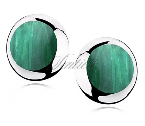 Srebrne kolczyki pr.925 okrągłe - Malachit