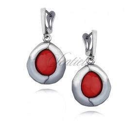 Srebrne kolczyki pr.925 Czerwony Koral