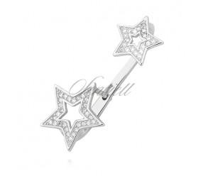 Srebrny kolczyk pr. 925 nausznica z cyrkoniami - gwiazdki