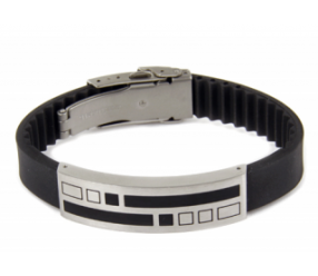 bransoletka magnetyczna 923-1 na kauczukowym regulowanym pasku
