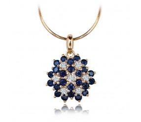 Staviori Wisiorek. 7 Diamentów, szlif achtkant, masa 0,035 ct., barwa H, czystość SI2. 24 Szafiry, masa 0,86 ct.. Żółte Złoto 0,585.