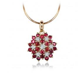Staviori Wisiorek. 7 Diamentów, szlif achtkant, masa 0,035 ct., barwa H, czystość SI2. 24 Rubiny, masa 0,86 ct.. Żółte Złoto 0,585.