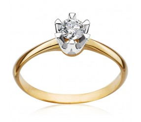 Staviori Pierścionek. 1 Diament, szlif brylantowy, masa 0,20 ct., barwa J, czystość I2. Żółte, Białe Złoto 0,585. Średnica korony ok. 4,5 mm. Wysokość 3 mm. Szerokość obrączki ok. 1,6 mm.