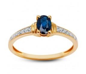 Staviori Pierścionek. 6 Diamentów, szlif brylantowy, masa 0,028 ct., barwa H, czystość I1. 1 Szafir, masa 0,60 ct.. Żółte Złoto 0,585.