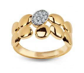 Staviori Złoty Pierścionek.Owalne elementy kształt liści i Cyrkonie. Żółte Złoto 0,333.