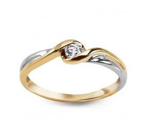 Złoty Staviori Pierścionek. Połączenie białego i żółtego złota pr. 0.585. 1 Diament, szlif brylantowy, masa 0,15 ct., barwa J, czystość I1.