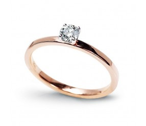 Staviori Pierścionek Zaręczynowy z Różowego Złota pr.0,585 1 Diament, szlif brylantowy, masa 0,25 ct., barwa G, czystość SI1-SI2.