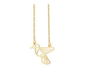 Srebrny naszyjnik pr.925 - Origami koliber, pozłacany