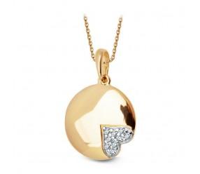 Staviori Wisiorek ze złota pr. 0,585 pełne koło z sercem z cyrkonii