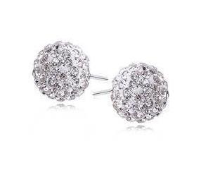 Kolczyki kulki 10mm białe, crystal beads
