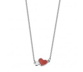 Staviori Naszyjnik srebrny delikatne serce czerwone z emalii
