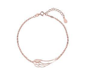 Srebrna bransoletka pr. 925 skrzydło z cyrkoniami, pozłacane różowym złotem