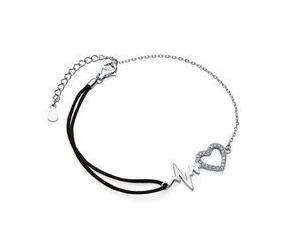 Srebrna pr.925 bransoletka z czarnym sznurkiem - serce z cyrkoniami i linia pulsu