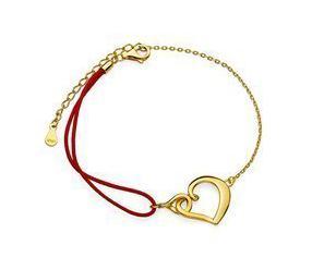 Srebrna pr.925 pozłacana bransoletka z czerwonym sznurkiem - serce i infinity