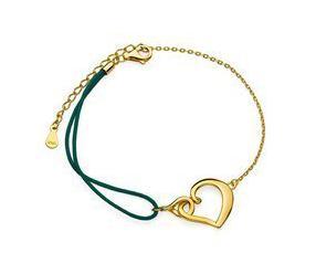 Srebrna pr.925 pozłacana bransoletka z ciemnozielonym sznurkiem - serce i infinity