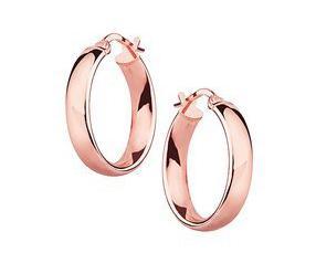 Srebrne kolczyki kółka - pozłacane różowym złotem, wysoki połysk