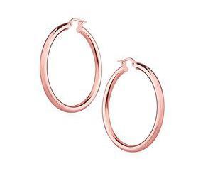 Srebrne kolczyki kółka - pozłacane różowym złotem, wysoki połysk, pozłacane