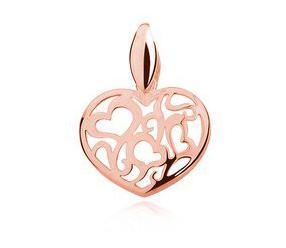Srebrna pozłacana zawieszka pr.925 serce ażurowe - różowe złoto