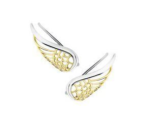 Srebrne kolczyki nausznice - pozłacane skrzydła