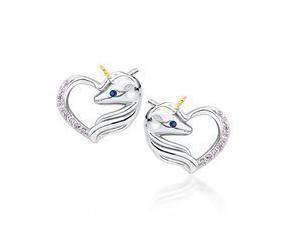 Srebrne kolczyki pr. 925 serce - jednorożec z jasnoróżowymi cyrkoniami i szafirowym okiem