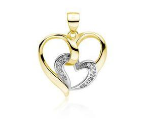 Srebrna zawieszka pr.925 pozłacane serce z mniejszym sercem z cyrkoniami
