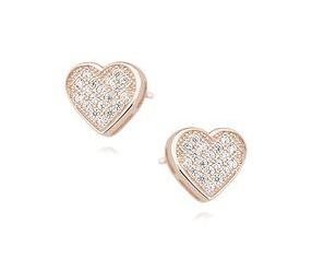 Srebrne kolczyki pr. 925 serca z cyrkoniami pozłacane różowym złotem