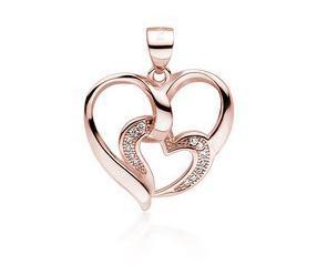 Srebrna zawieszka pr.925 pozłacane serce z mniejszym sercem z cyrkoniami - różowe złoto