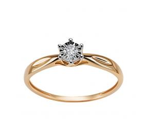 Staviori Pierścionek. 1 Diament, szlif brylantowy, masa 0,05 ct., barwa H, czystość SI1-SI2. Żółte Złoto 0,585.
