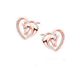 Srebrne pozłacane kolczyki pr.925 serce - koń z białymi cyrkoniami - różowe złoto