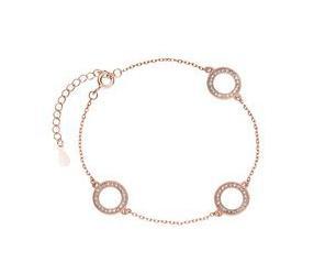 Srebrna bransoletka pr. 925 okrąg z cyrkoniami, różowe złoto