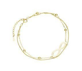 Srebrna (925) pozłacana bransoletka z podwójnym łańcuszkiem - infinity