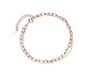 Srebrna (925) złocona bransoletka z podwójnym łańcuszkiem - różowe złoto