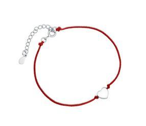 Srebrna pr.925 bransoletka z czerwonym sznurkiem - serduszko