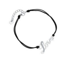 Srebrna pr.925 bransoletka z podwójnym czarnym sznurkiem i białymi cyrkoniami - napis Love