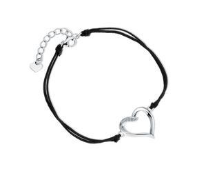 Srebrna pr.925 bransoletka z podwójnym czarnym sznurkiem - serce z cyrkoniami