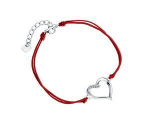 Srebrna pr.925 bransoletka z podwójnym czerwonym sznurkiem - serce z cyrkoniami