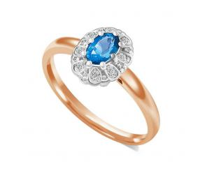 Pierścionek różowe złoto 585 z szafirem i diamentami