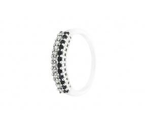 pierścionek srebrny PS113 podwójny rząd białych i czarnych cyrkonii