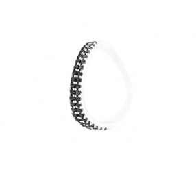 pierścionek ze srebra PS122 pr.925 czarna cyrkonia - fala