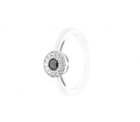 pierścionek ze srebra PS125CZ z czarna cyrkonia